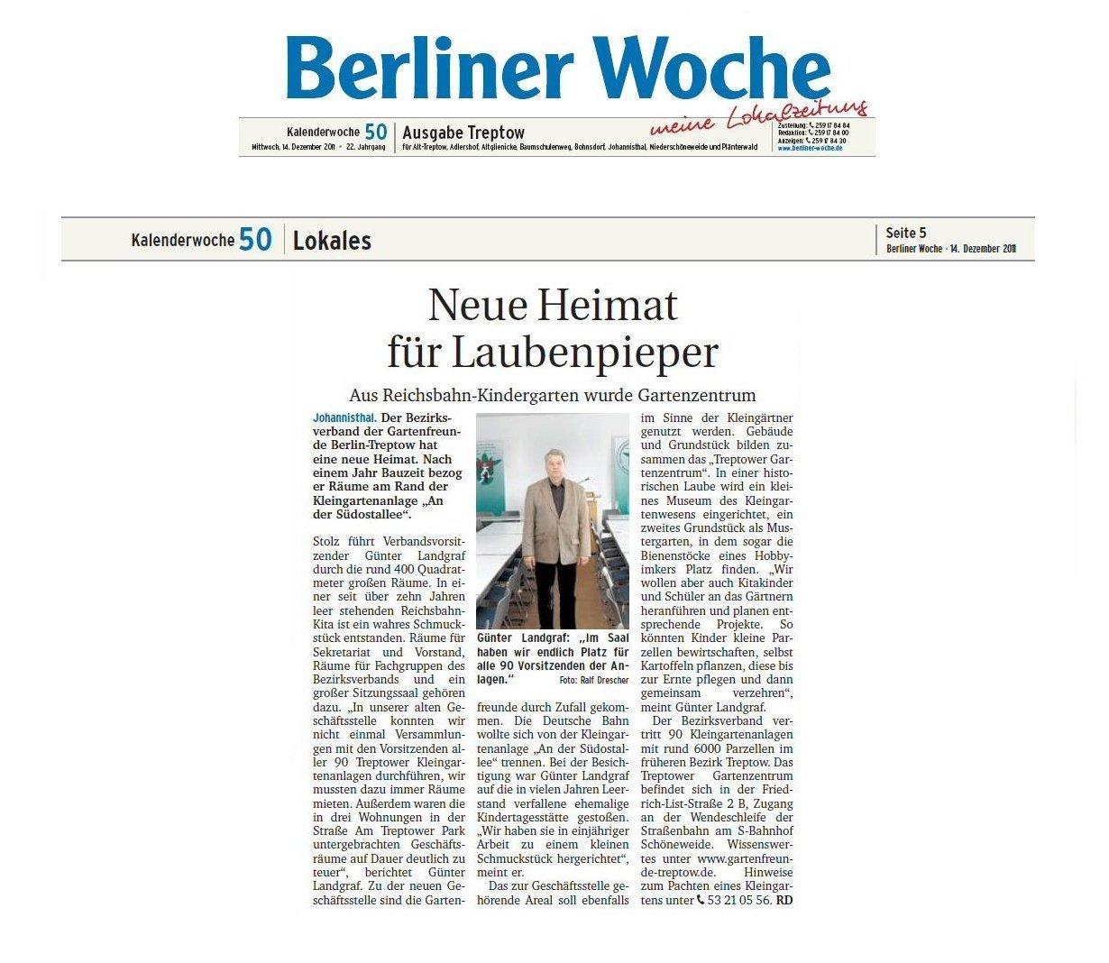 gartenzentrum in berliner woche 50 2011 verband der. Black Bedroom Furniture Sets. Home Design Ideas